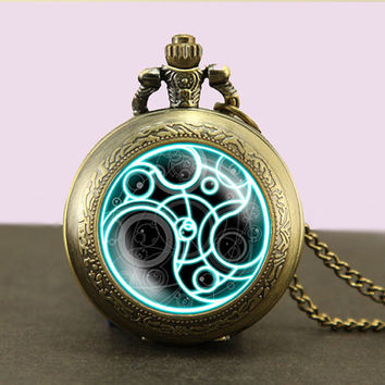 Doctor Who Pocket Watch Necklace,Doctor Who Timelord Seal Locket necklace, Dr Who masters fob watch locket necklace