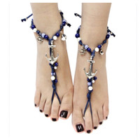 Barefoot and Happy! Anchor Theme Barefoot Sandal Ankle Bracelet Set