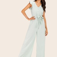 Half Button Belted Striped Jumpsuit