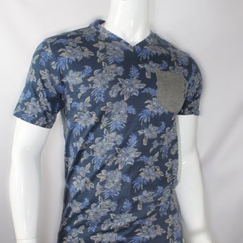 Blue Floral Tee With Gray Pocket Patch