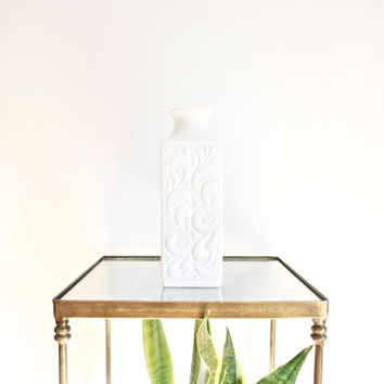 Mid Century Matte White Porcelain Vase by Hutschenreuther West Germany