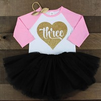 Gold Three in Heart Black Tutu Outfit