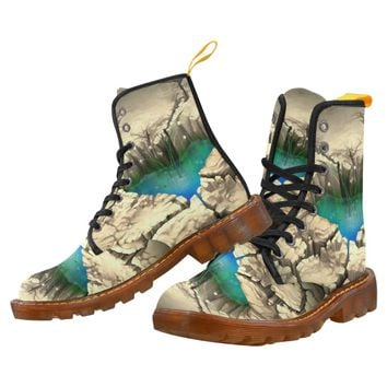 Water Hole Lace Up Martin Boots for Women