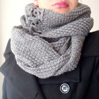 Infinity Loop Circle Knit Scarf Grey Cowl Neck Warmer with crocheted Flowers