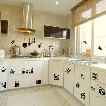 Kitchen Tools Wall Sticker Home Removable Decal Wall Stickers Vinyl Kitchen Quote Art Decor