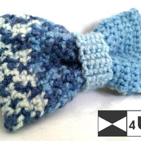 Blue Deep Blue Hand Knitted Bow Tie Crochet Bow Tie Dickie Bow Bowtie Wedding Bow Tie Groomsmen Bow Tie Man Men Lady Gift Fancy BowTie4You