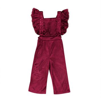 Toddler Kids Girls Velvet Bib Overalls Pants Backless Romper Jumpsuit Outfits