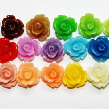WHOLESALE 100 Piece 10mm Resin Cabochon Rosette Flowers Perfect for Earrings and Bobby Pins Jewelry Making