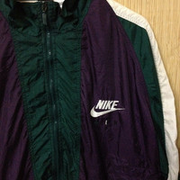 CUT-RATE SALE 30% Vintage 90's Nike Air Nike big logo Zipperd Streetwear Jacket Tricolor Nylon Jacket Nba Jordan Medium