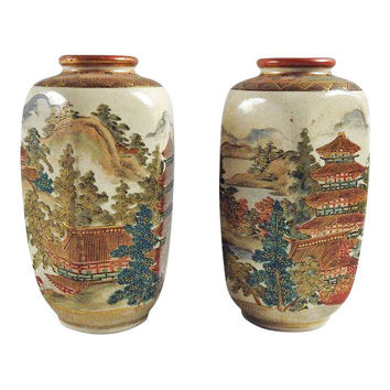 Antique Meiji Period Satsuma Vases - A Pair