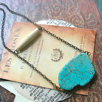raw magnesite bone ladder necklace on aged brass las cruces