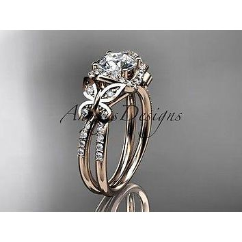 14kt rose gold diamond butterfly wedding, engagement ring  ADLR141