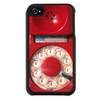 Red iPhone case, case for iPhone 4, iPhone 4s, red telephone, protection, vintage dial phone, iPhone cover, soft touch, rotary phone case