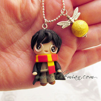 Chibi cute Harry Potter polymer clay necklace by AlchemianShop