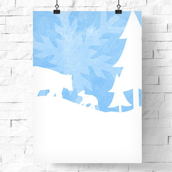 Digital Download | Printable Winter Poster | Bears with Snowflake | Nature Illustration | Snowy Winter Forest | Holiday Decor | 8x10 & 5x7