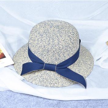 Women's Wide Brim Caps Beach Hat Foldable Summer Vacation Sun Protective Bowknot Straw Hats Solid Color Outdoor Leisure Hat