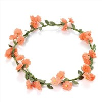 Coral Flower Garland Crown Headband Festival