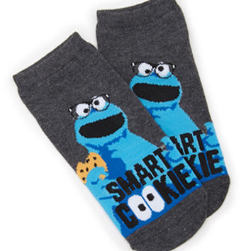 FOREVER 21 Smart Cookie Monster Socks Charcoal/Blue One