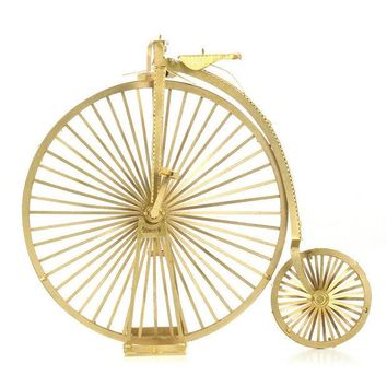 DCCKL72 Metal Puzzles DIY 3D Jigsaw Puzzle Earth Laser Cut Model Gift for Children Educational Toys Vintage Bike Bicycle Gold