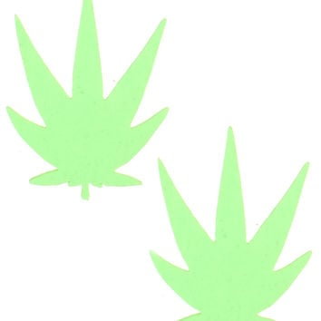 GLOW IN THE DARK WEED LEAF PASTIES