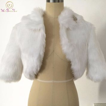 Walk Beside You White Fur Bolero Jacket Wedding Bridal Cape Half Sleeve Wedding Coat Faux Fur Cape Customize