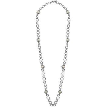 JEANNE LONG PEARL STATION NECKLACE IN SILVER