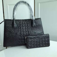 Genuine Alligator Leather Shoulder Tote Bag With Wallet Gift For Women Black