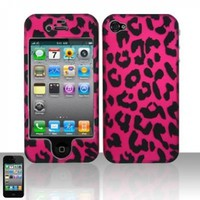 HOT PINK LEOPARD Hard Rubber Feel Plastic Design Case for Apple iPhone 4