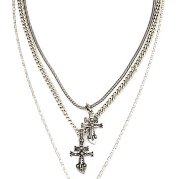 Layered Cross Necklace in Silver from Vanessa Mooney Jewelry
