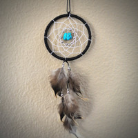 Dream Catcher for Car Mirror- Black and White with Turquoise