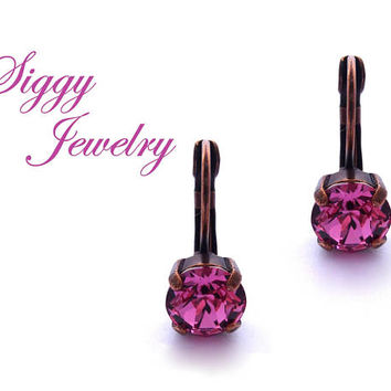 Swarovski Crystal Earrings, 8mm Rose, Pink Crystal Earrings, Drops or Studs, Assorted Finishes, Bridesmaids Gift, FREE SHIPPING