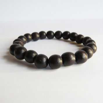 Dark Brown Wood Stretch Bracelet, 8 mm - Wooden jewelry For Him or Her  - Simple Handmade Jewelry