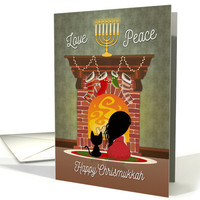 Interfaith Holiday with Girl and Cat Sitting in Front of Fireplace card