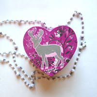 Grey deer with flowers heart shaped jewelry box for trendy girls room