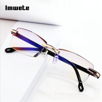Imwete Rimless Reading Glasses Women Men Transparent Blue Light Blocking Frameless Computer Glasses Presbyopia Reader 1.0 1.5