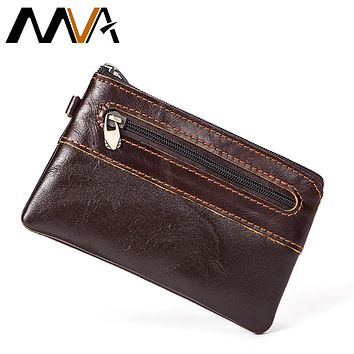 MVA Men Purse Leather Wallet Small Coin Purse Genuine Leather Man Wallets with coin pocket Slim Wallet Card Holder Male Purses