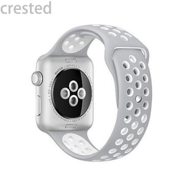 CRESTED Silicone strap For Apple Watch Band 42mm Sport Band For Apple Watch Strap For Nike SM/ML size Series 1/2