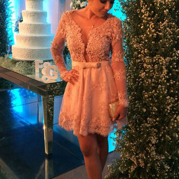 Pink Homecoming Dress,  V-Neck Applique Lace Homecoming Dress with Pearls