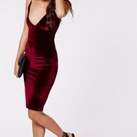 Missguided - Cheyanne Velvet Strappy Midi Dress Burgundy