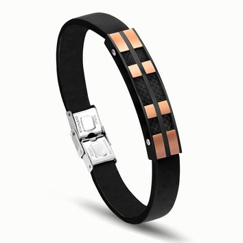 Rock Style Genuine Leather Men Bracelet & Bangle Stainless Steel Bracelet Fashion Charm Braclet with Delicate Clasp