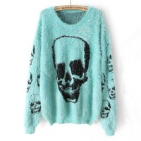 Light Blue Long Sleeve Skull Pattern Shaggy Sweater