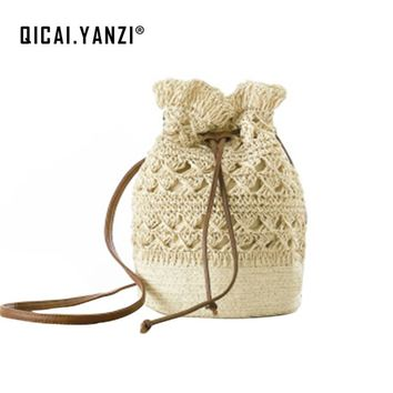QICAI.YANZI Summer Handmade Crochet Shoulder Bag Women Rattan Straw Bucket Bags Hollow Out Beach Tote Draw String Handbags P605