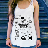 Tatto Harry Styles one direction,  tanktop Girl, Funny Shirt size S,M,L,XL,XXL