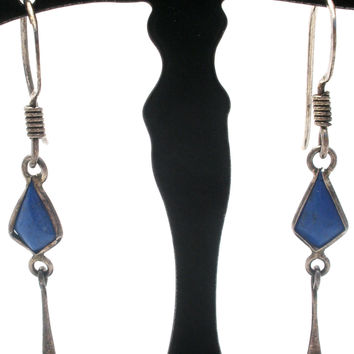 Sterling Silver Lapis Lazuli Dangle Earrings Vintage