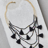 AEO Black Bead and Tassel Layering Necklace, Black