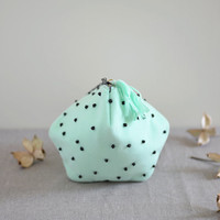 The mint chocolate ball Purse - pastel green purse with black bead