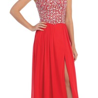 Starbox USA L6081 Encrusted Bodice Chiffon Red Strapless Prom Dress