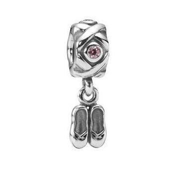 Authentic Pandora S925 Sterling Silver Ballet Slippers Retired Charm Bead w/ Box Free Shipping Worldwide Gift Bridal Weddings Brides Jewelry