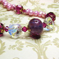 Crystal heart pink pearl necklace Romantic fuschia lampwork beaded necklace Single strandpearl jewelry  Beaded jewelry