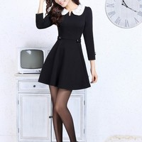 free shipping LACE collar black elegant dress final clearance g351